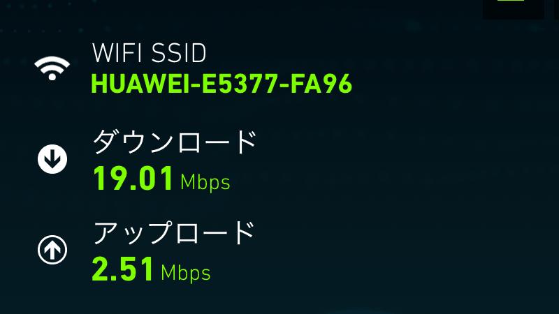 HUAWEI E5377 Mobile WiFi スピード